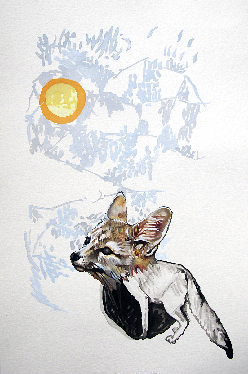 a desert scene (San Joaquin kit fox)  Gouache, watercolor, and sumi ink on paper 18 x 12 inches 2012