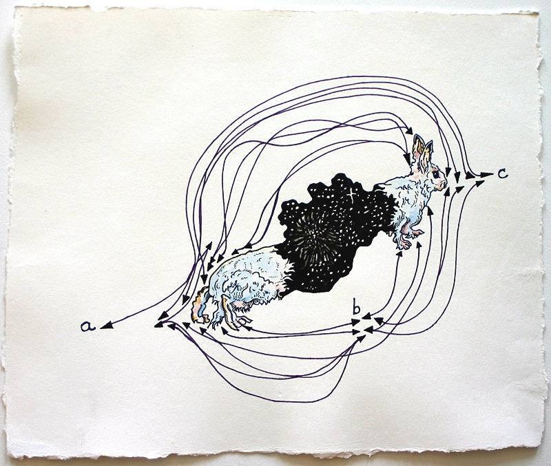 constellation (a, b, c)  Pen and watercolor on paper 11 3/4 x 14 inches 2007