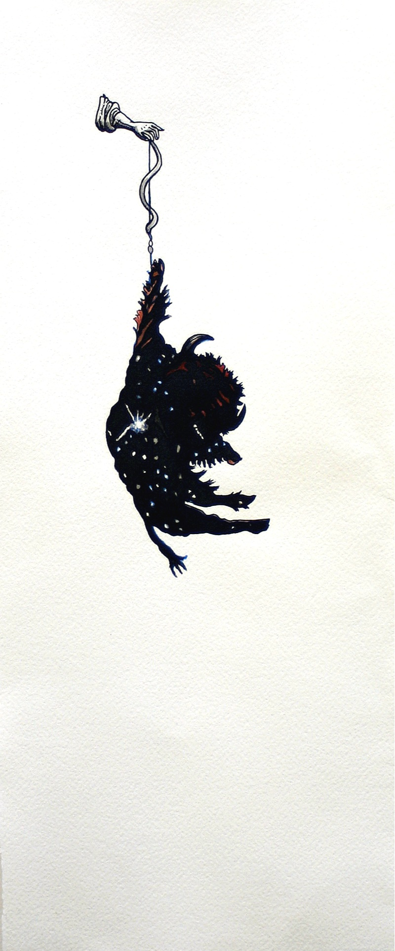 constellation (bison)  Pen, sumi ink, and watercolor on paper 16 x 6 3/4 inches 2007