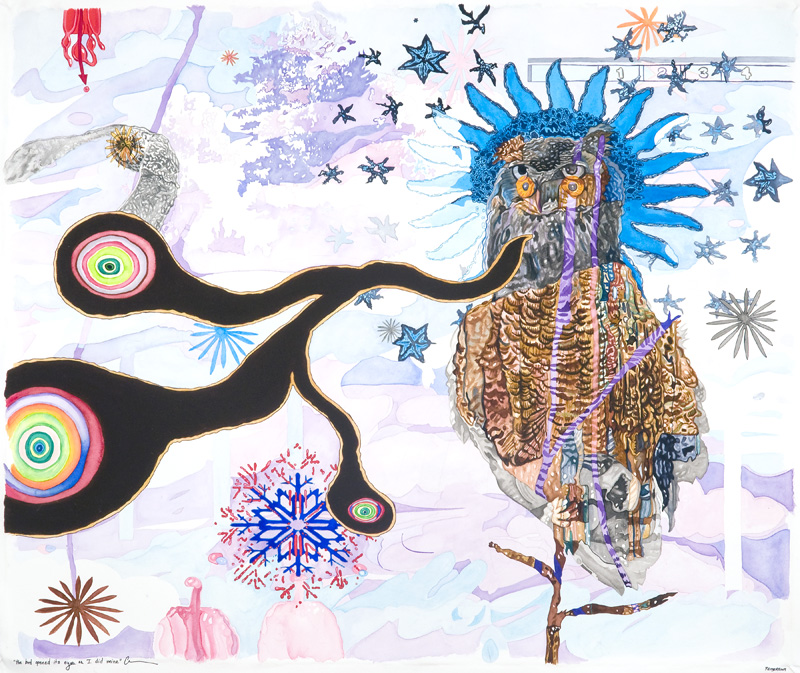 the bird opened its eyes as I did mine  Watercolor, gouache, acrylic, pencil, sumi ink, and marker on paper 27 x 32 inches 2009 (AVAILABLE FOR PURCHASE - CONTACT ARTIST IF INTERESTED)