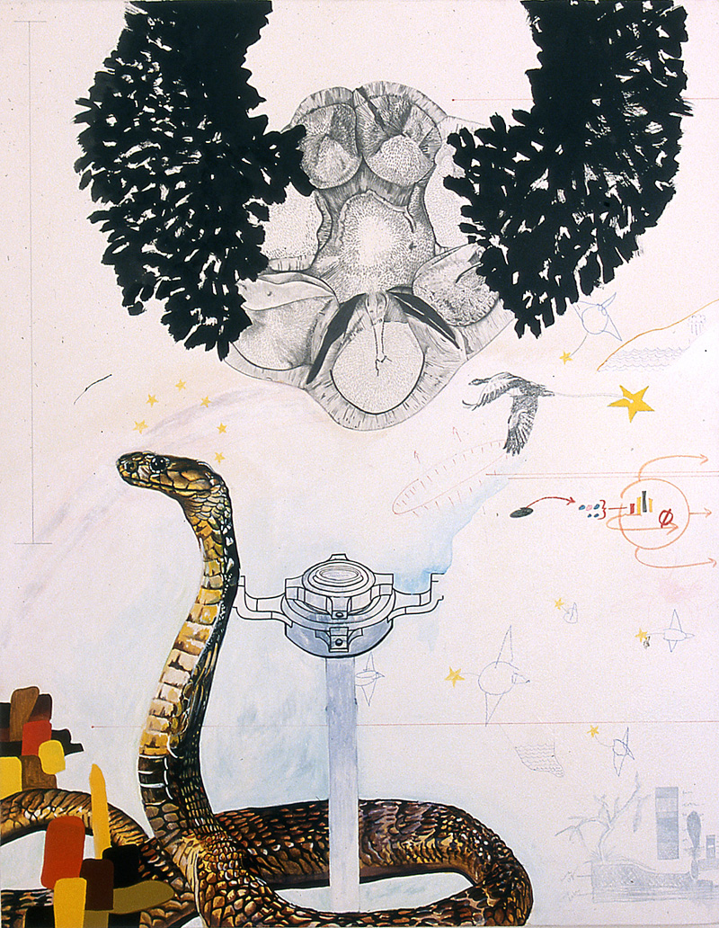 towing the beginning, again  Pencil, watercolor, gouache, acrylic, sumi ink, and marker on stretched paper 40 x 30 inches 2004