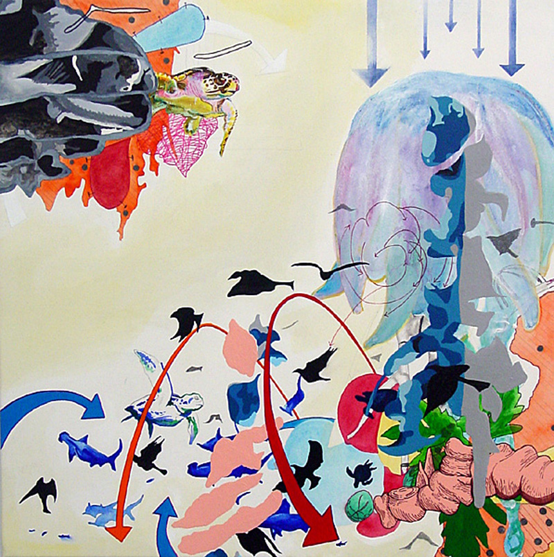 it just doesn't move like the beat suggests it should  Pencil, watercolor, gouache, acrylic, sumi ink, and marker on stretched paper 20 x 20 inches 2003
