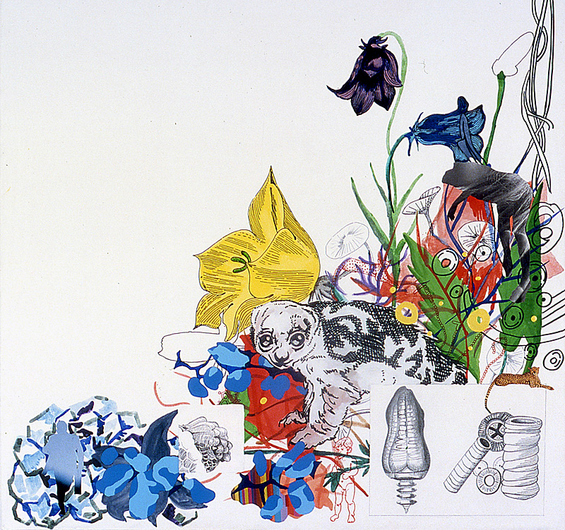 Floral Arrangement: Abiogenesis  Pencil, watercolor, gouache, acrylic, sumi ink, and marker on stretched paper 24 x 24 inches 2002