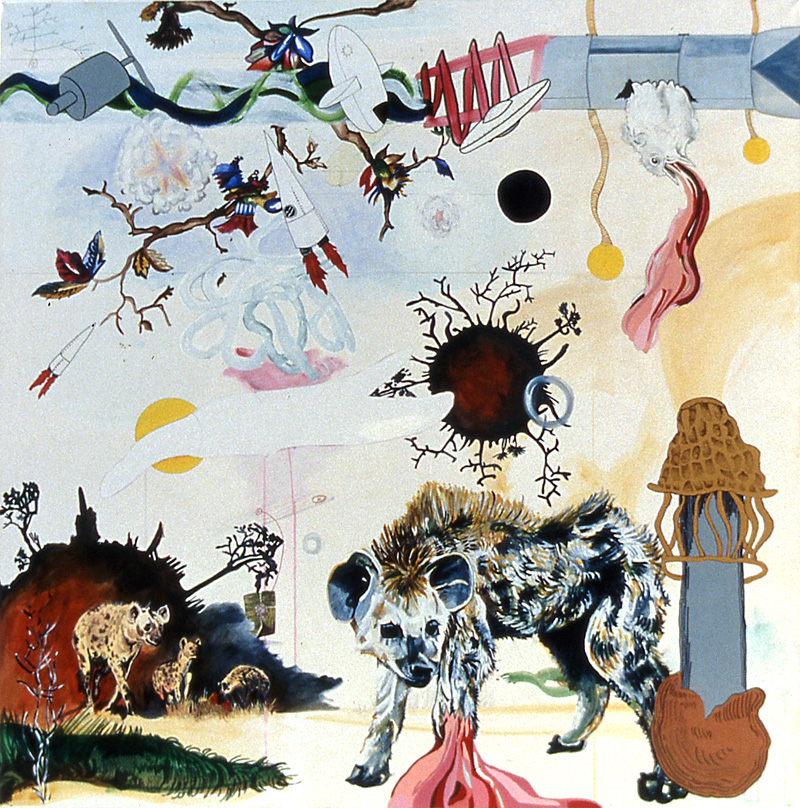 then they went away at 7:30pm  Pencil, watercolor, gouache, acrylic, sumi ink, and marker on stretched paper 40 x 40 inches 2003