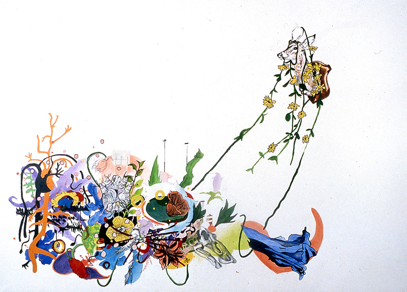 NC to NY: Our other, more lunatic day  Pencil, watercolor, gouache, acrylic, sumi ink, and marker on stretched paper 40 x 55 1/2 inches 2002