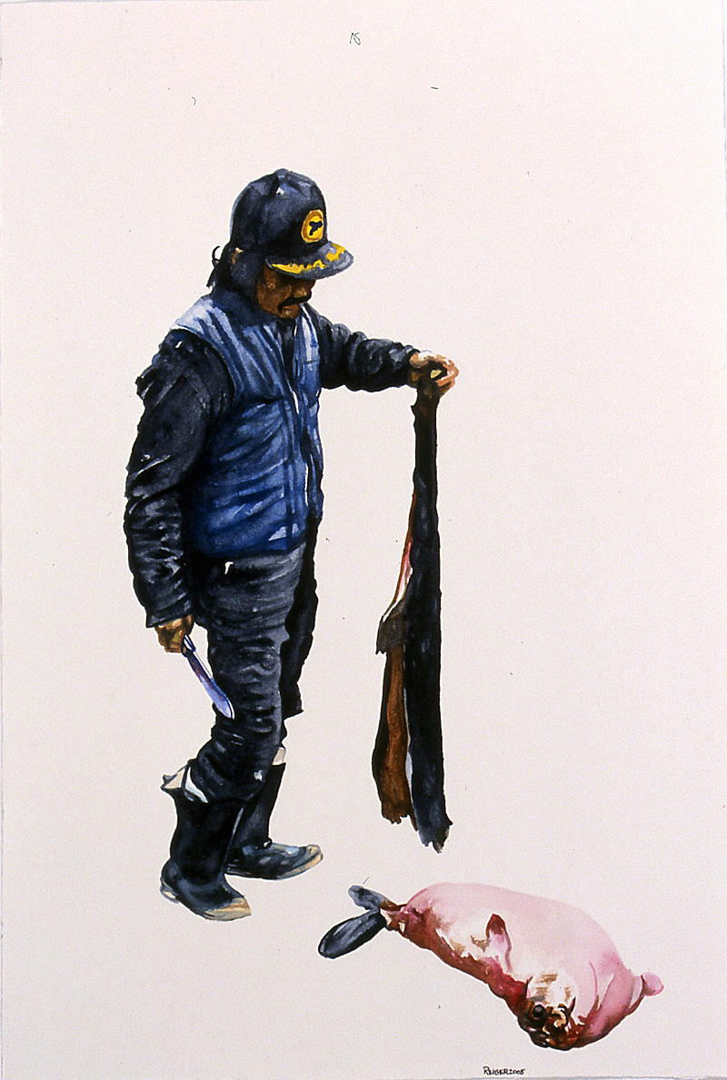Ringed Seal Hunter  Watercolor and gouache on paper 17 3/4 x 12 inches 2005