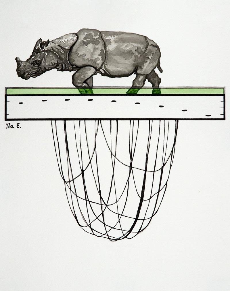 Javan Rhinoceros  Giclée Print 10 x 8 inches