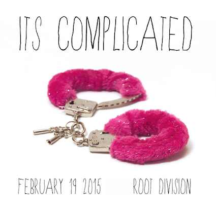 """Postcard promo for """"It's Complicated,"""" a joint program of BAASICS, Root Division, and the Museum of Broken Relationships (2015)."""