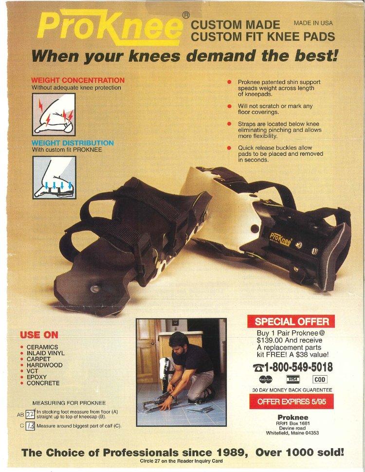 ProKnee Original Kneepad Ad Circa 1994