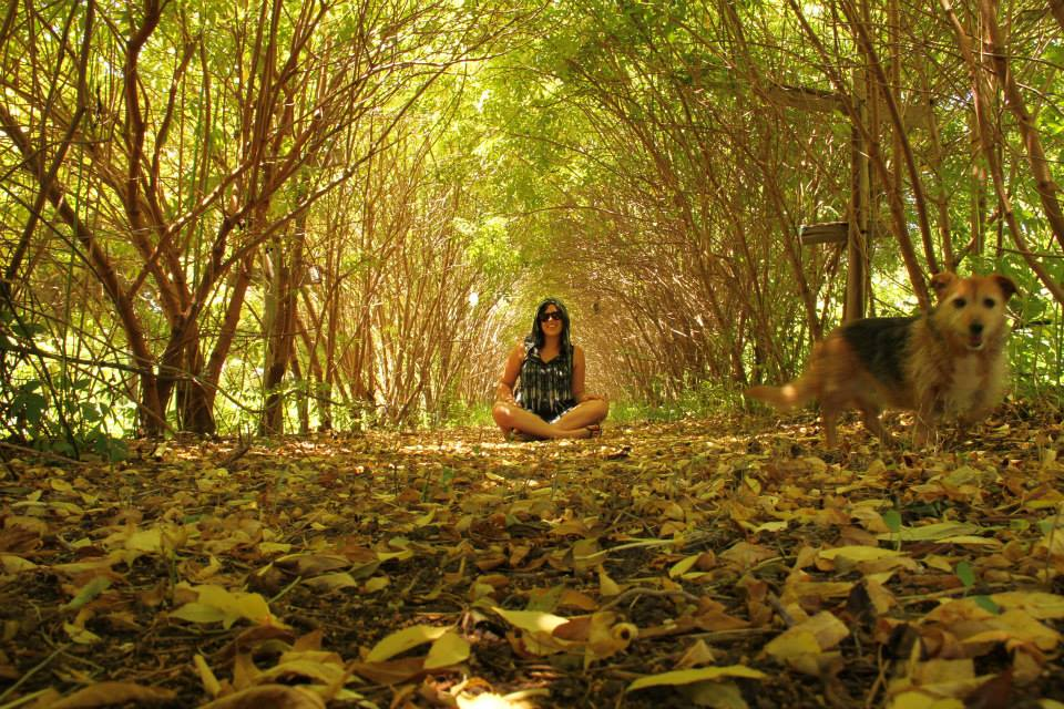 The lovely Roisin in the Elderflower hedge tunnel