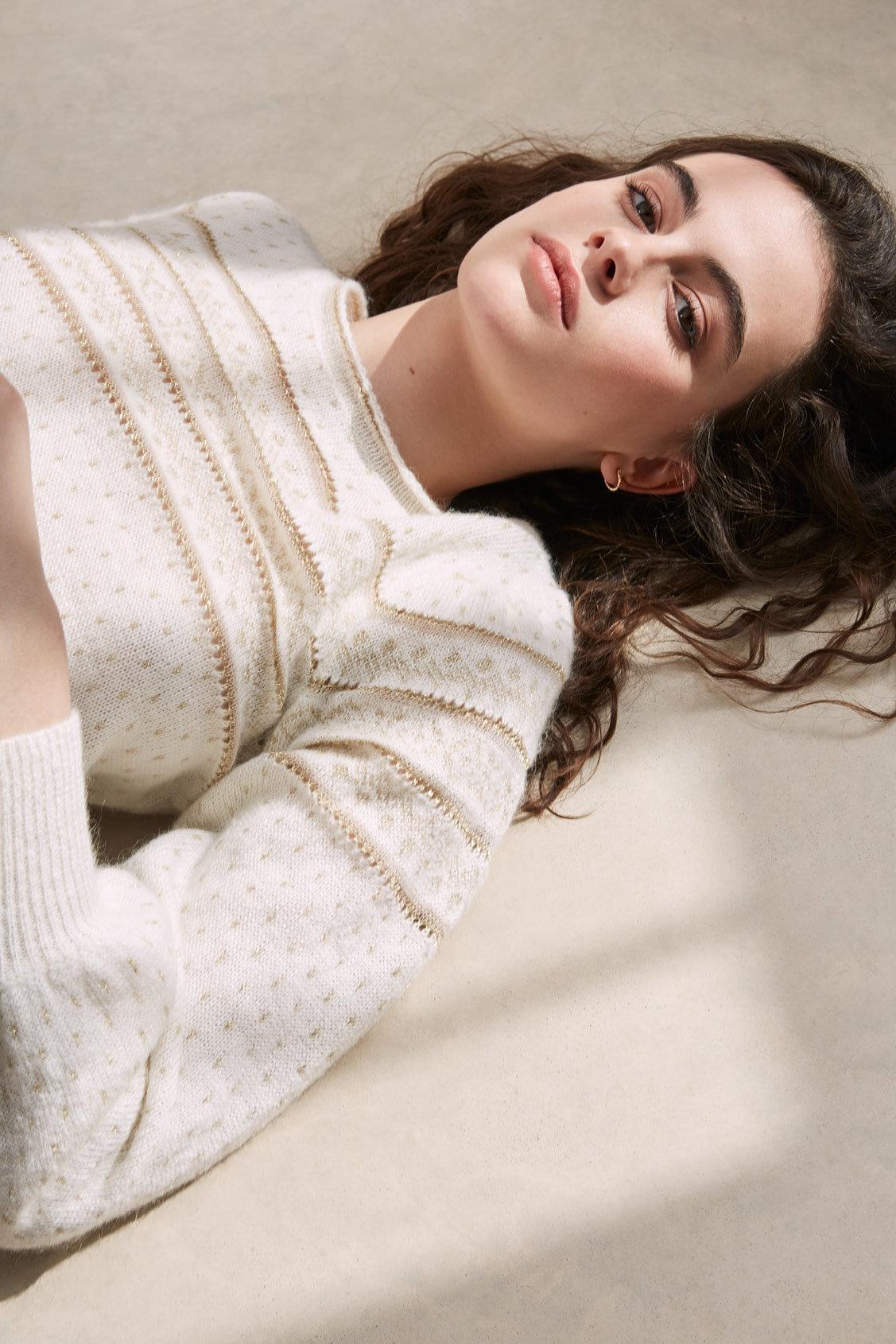 Hemstitched mohair jumper with lurex patterns