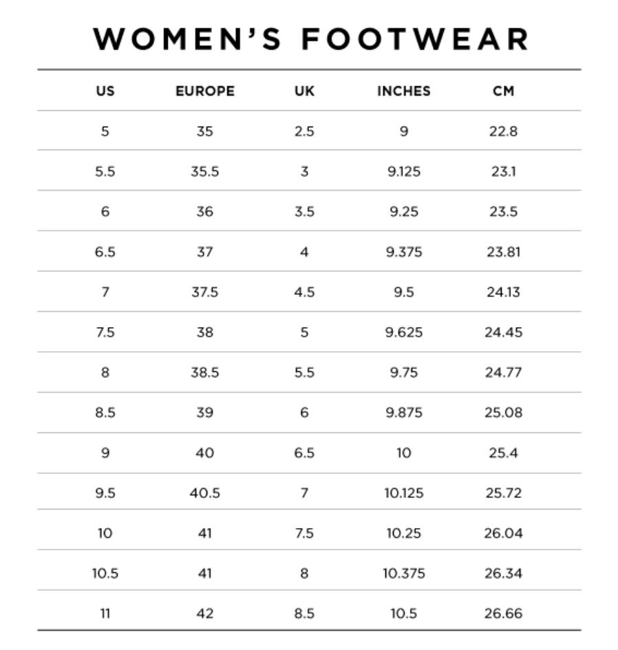 Women sizing chart