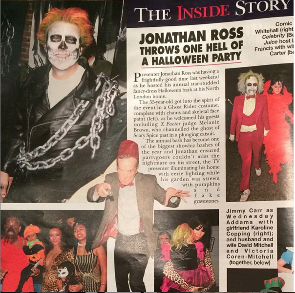 Hello magazine, 11/2014 | Jonathan Ross's Halloween Party | Hair and make-up for the family by Lisa