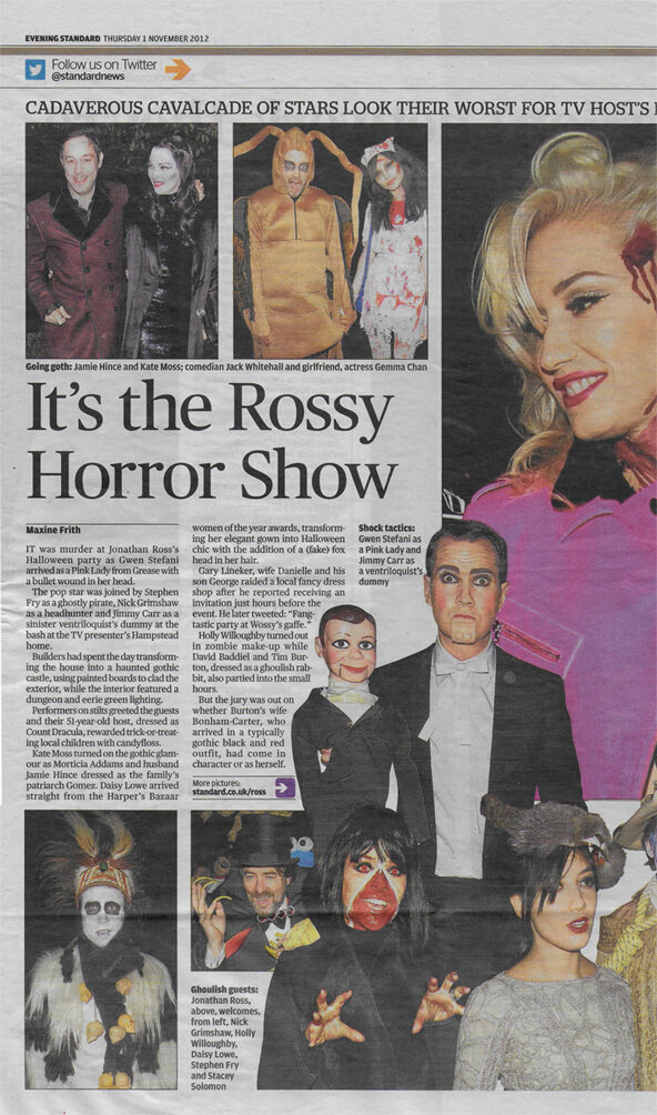 Evening Standard, 11/2012 | Jonathan Ross's Halloween Party | Hair and make-up for the family by Lisa
