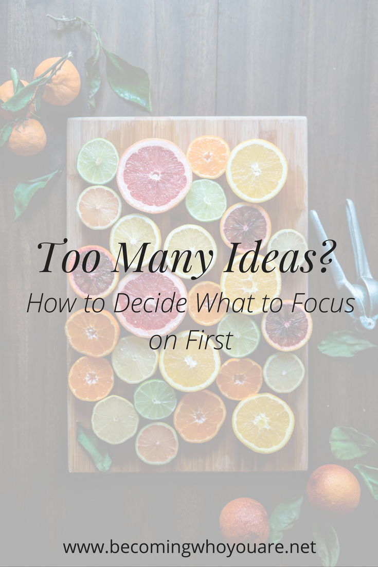 If you've ever had too many ideas, this post is for you! Click to discover how to decide what to focus on first when you are being tempted by all the projects.