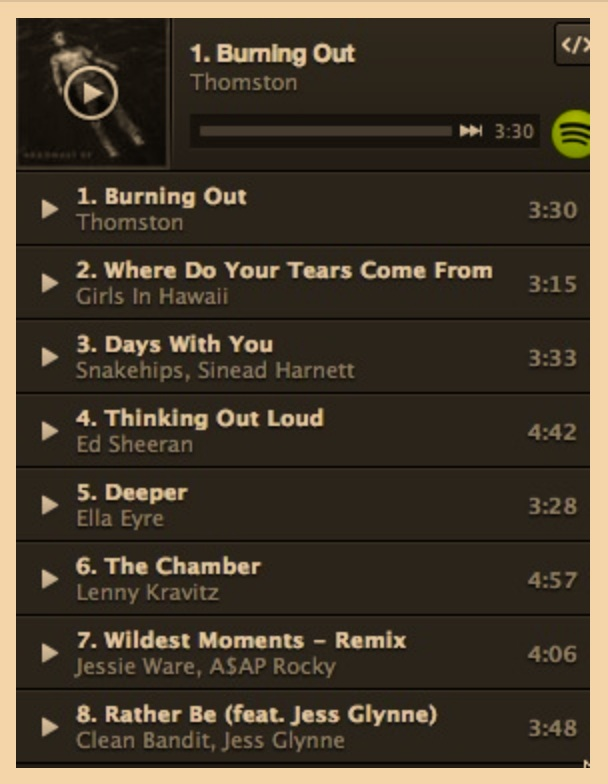 The Sham has a playlist of songs, corresponding to major events in the book. -