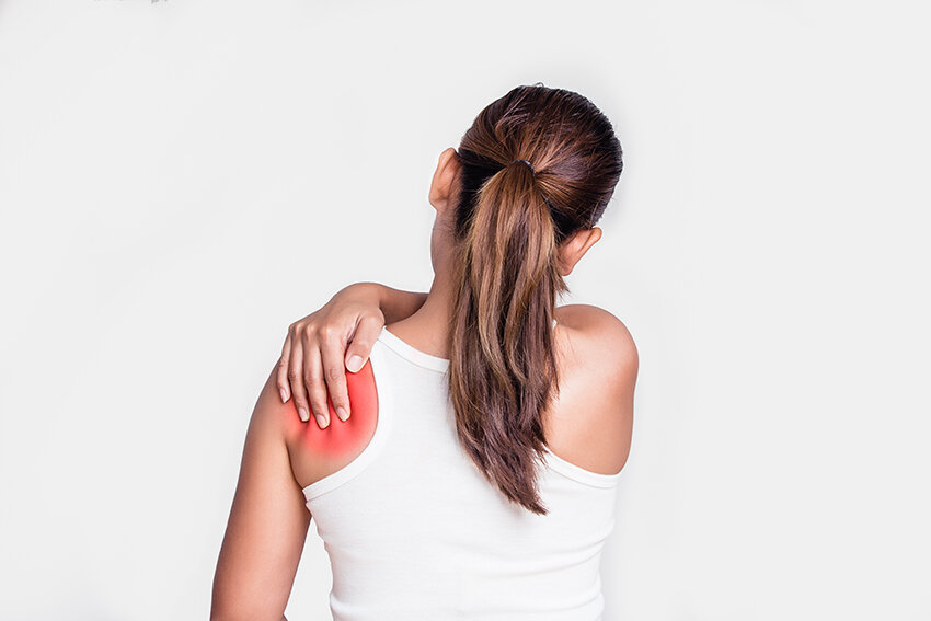 A lady with shoulder pain.