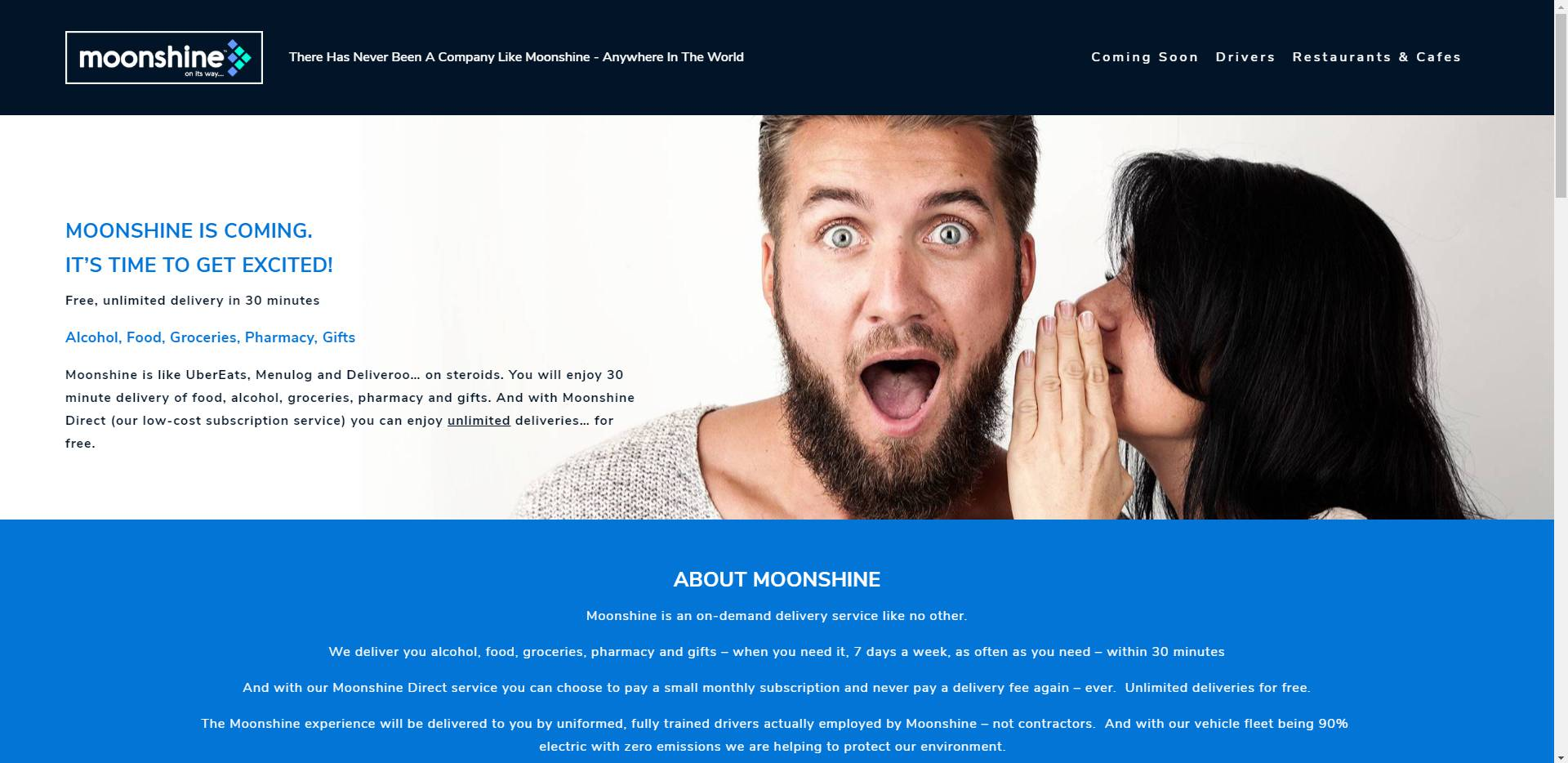 Moonshine Direct - Moonshine is an upcoming Clean and Green Uber Eats competitor. They needed an in your face coming soon site to grab some attention.