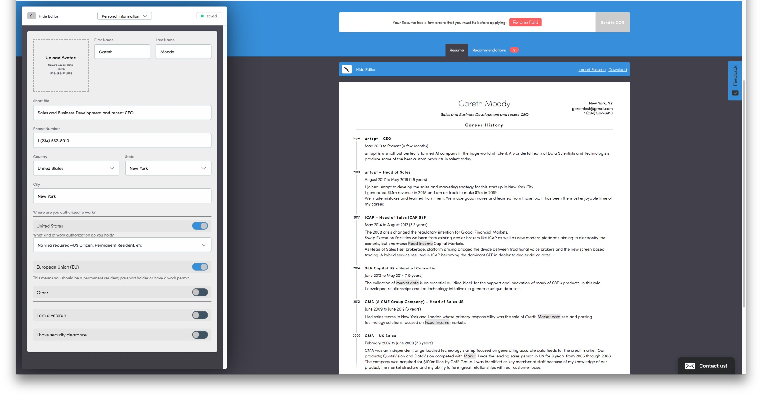 Interactive resume builder