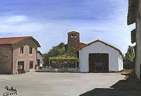 Painting of Tía Paquita's farm in Ciriano, Spain.