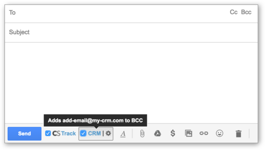 Automatically log emails to any CRM - Automatically BCC to your CRM or any email address. No more spending weekends logging emails into CRM, and let us take care of that in real-time.