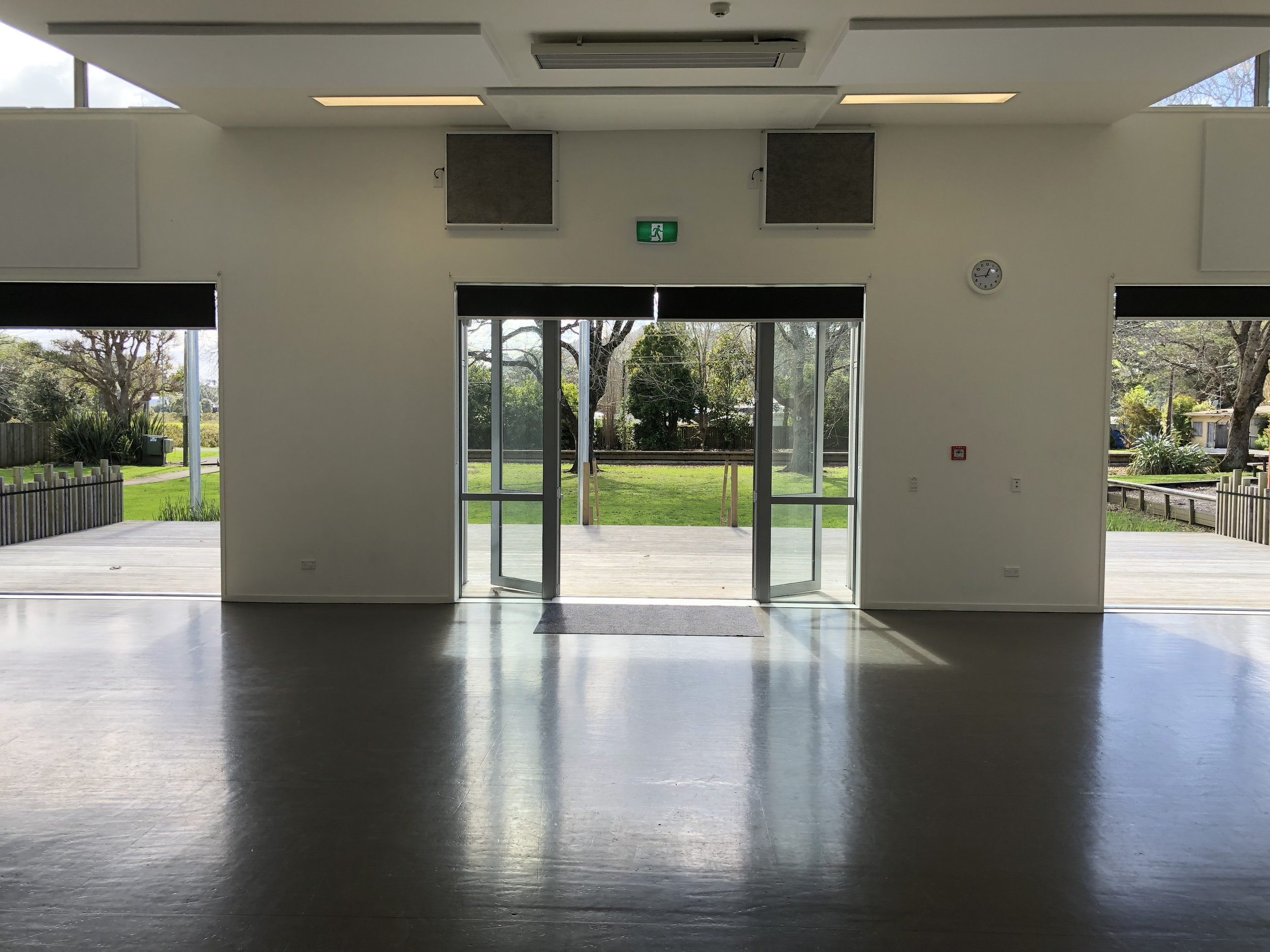 View from internal hall doors looking out to Stillwater Reserve. Click to enlarge image.