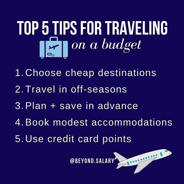 "TOP 5 TIPS FOR TRAVELING WITHOUT SPENDING $$$$⁠⠀ ⁠⠀ 1) Choose cheap destinations. ⁠⠀ For example, a nice hotel or dinner in Thailand will cost you only a fraction of what you'd pay for the same exact thing in Paris. (PRO TIP: Yes, flights can be expensive. To find great deals I use @scottscheapflights)⁠⠀ ⁠⠀ 2) Travel in off-seasons.⁠⠀ Prices spike during seasons when most people are traveling, like Greece in the summer. Island-hopping around Mykonos in October will be much cheaper than going May.⁠⠀ ⁠⠀ 3) Plan + save in advance.⁠⠀ ""I wish I could just spontaneously take a trip""—well, now you can. Save a set amount each month for travel, even when you don't have anything planned. Just an extra $125 each month (that's $4/day) will give you almost $1500 for a trip in 2020!⁠⠀ ⁠⠀ 4) Book modest accommodations.⁠⠀ You don't need to stay at the Hilton to have a good time. There are plenty of local hotels + hostels in cities around the world that offer spectacular stays for a fraction of the price.⁠⠀ ⁠⠀ 5) Use credit card points.⁠⠀ This one is huge! If you are still using your debt card or cash, you are missing out on free flights, upgrades, and hotel stays. For more information, check out guides from @pointsguy. ⁠⠀ ⁠⠀ ⁠⠀ ⁠⠀ ⁠⠀ ⁠⠀ #travellifestyle #travelgram #travelblogger #fulltimetraveler #fulltimetravel #travelgirl #travelgirls #travelgirlshub #travelgirlscollective #travelgirlsdiary #girlborntotravel #travelfashiongirl #solotravelgirl #nomadgirls #debtcoach #studentloandebt #creditcards #creditcarddebt #debtfreecommunity #debtfreejourney #debtfreeliving #debtfree #debtsnowball #debtfreedom #debtfreelifestyle #personalfinance #personalfinanceblog #personalfinanceblog #personalfinanceforwomen #personalfinancecoach"