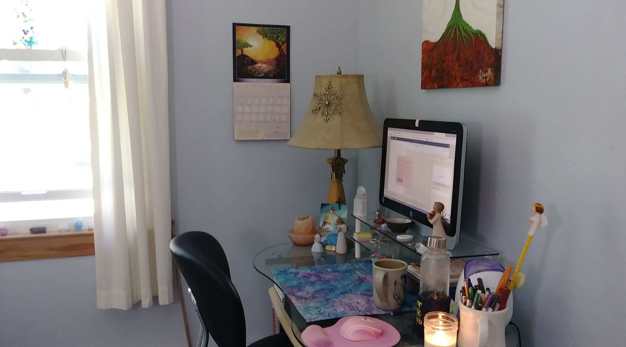 My Idea of a Corner Office - I prefer to keep things simple and practical and pretty, when possible. That includes my corner office with a view… into my front yard. It also includes my approach to intuition.