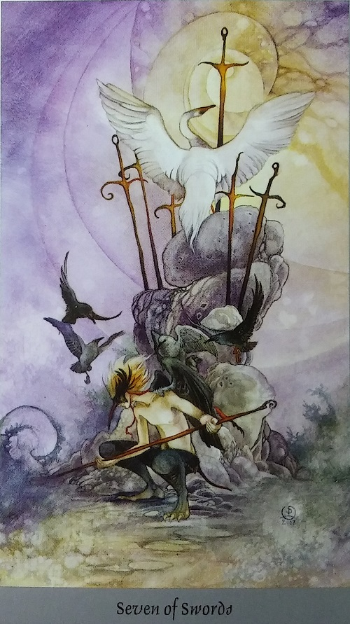 Seven of Swords ~ Shadowscapes Tarot, created by Stephanie Pui-Mun Law, published by Llewellyn Publishing.