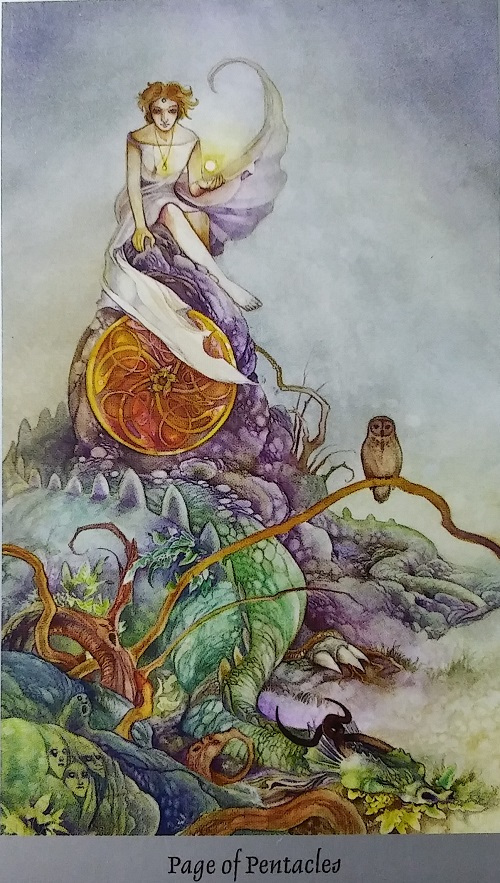 Page of Pentacles ~ Shadowscapes Tarot, created by Stephanie Pui-Mun Law, published by Llewellyn Publishing.