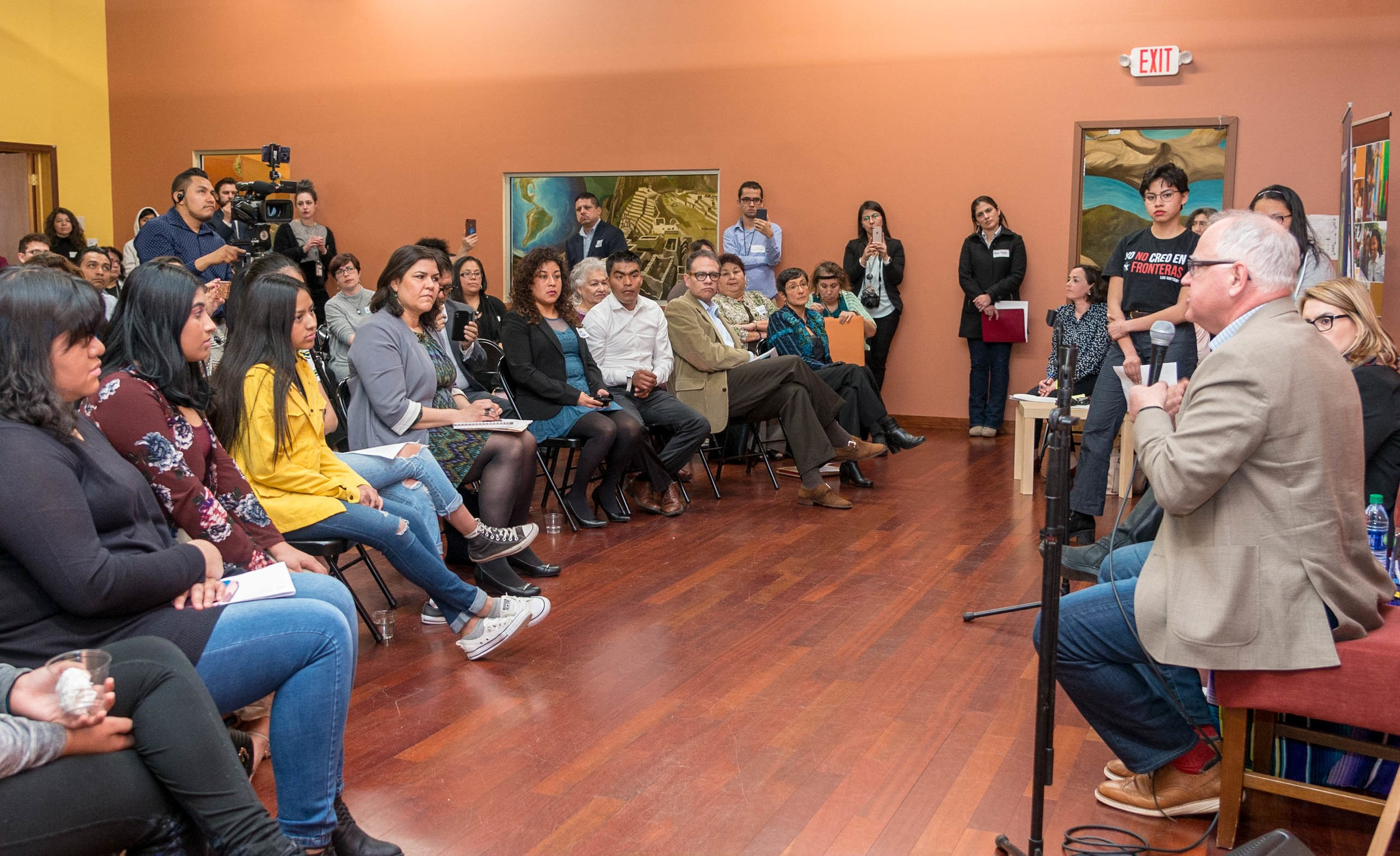 """Photo Caption: """"Town Hall"""" meeting, coordinated in collaboration with COPAL, which engaged around 100 members of the Latine community, including families, leaders, and representatives of community organizations."""