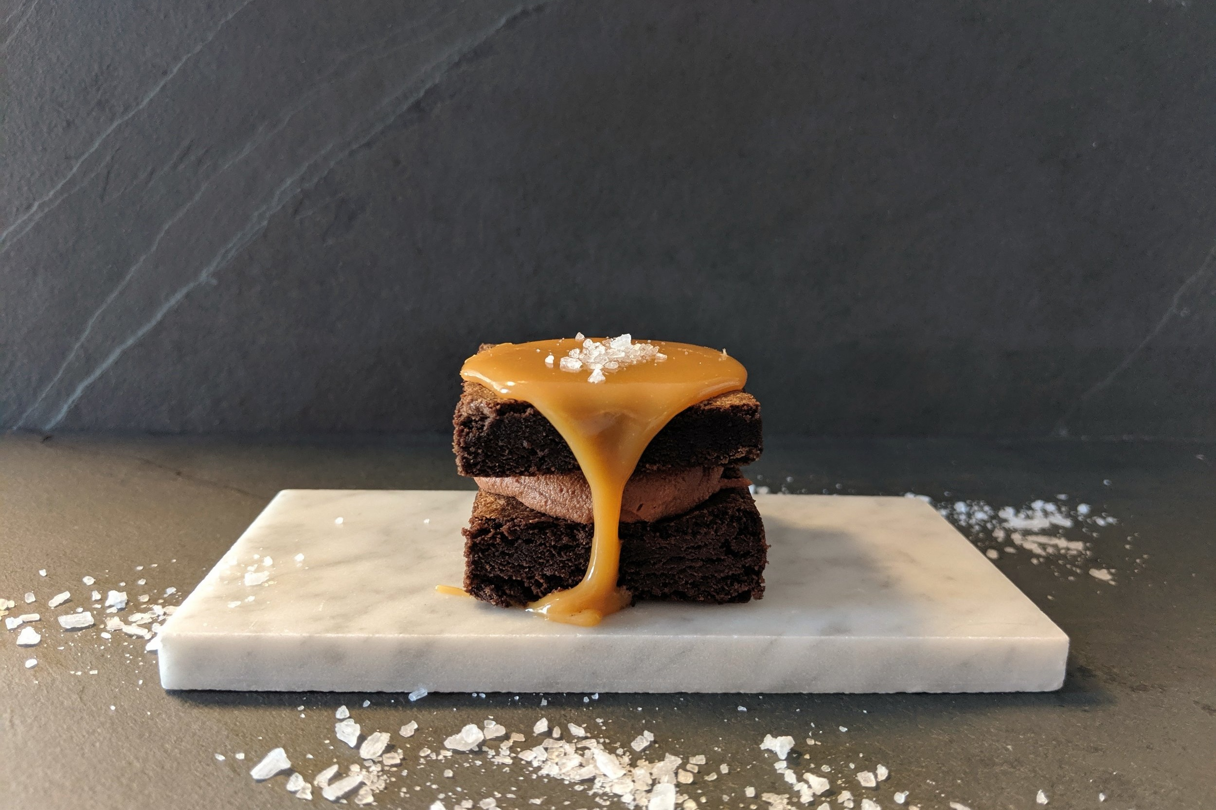 SALTED CARAMEL! - RICH BUTTERY CARAMEL SAUCE WITH COARSE SEA SALT AND WHIPPED GANACHE