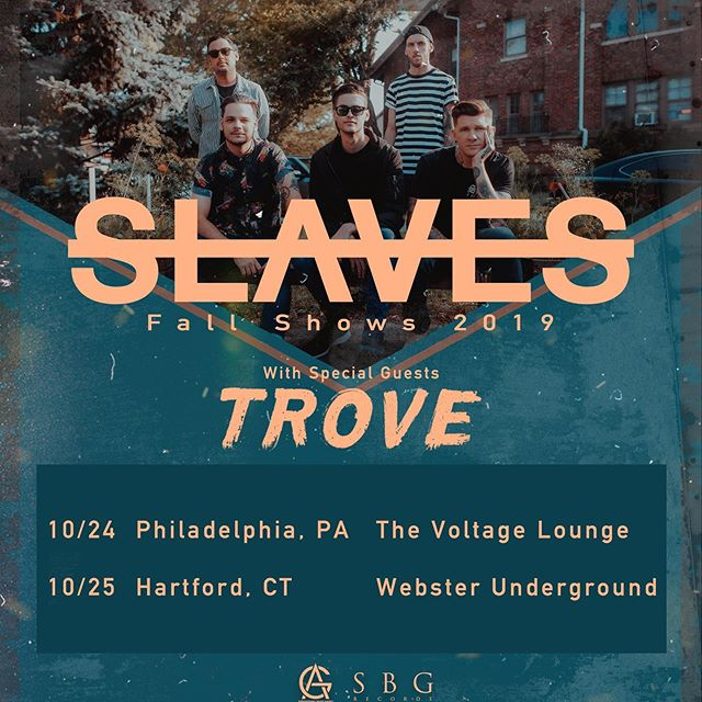 Just added two east coast coast shows with our good friends in @trovetheband !! Get your tickets at slavesband.com ( link in bio)