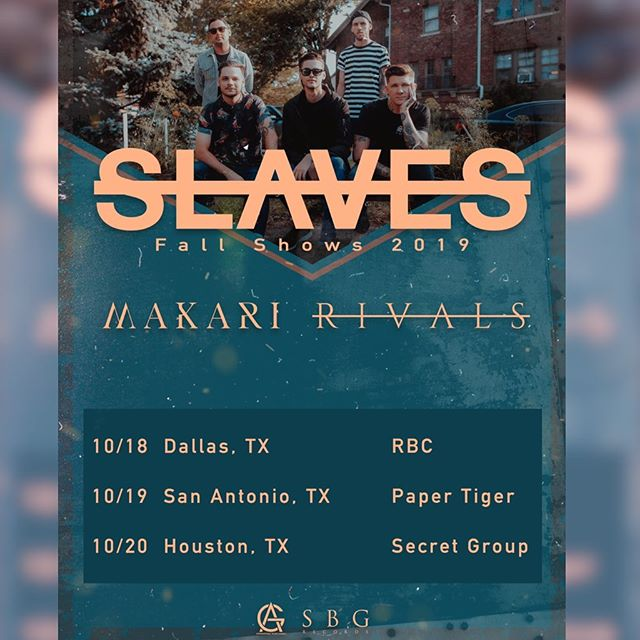 We are excited to announce @makariband and @wearervls will be supporting us for these upcoming Texas shows! Get your tickets at slavesband.com