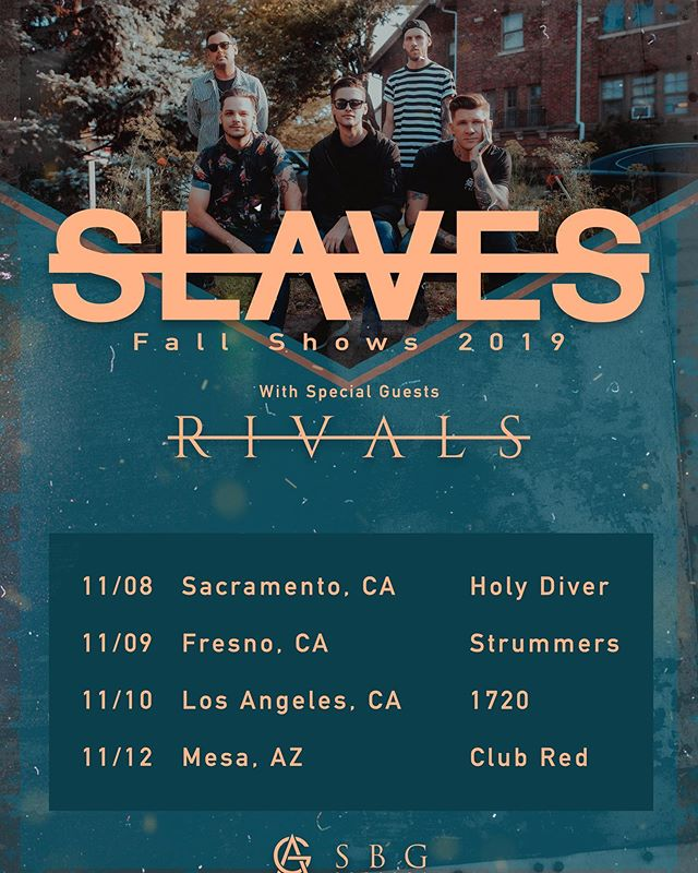 Alright west coast! Happy to announce that @wearervls will be supporting us for our west coast shows as well! Get your tickets now at slavesband.com ( we might have one more band to announce soon 😏)