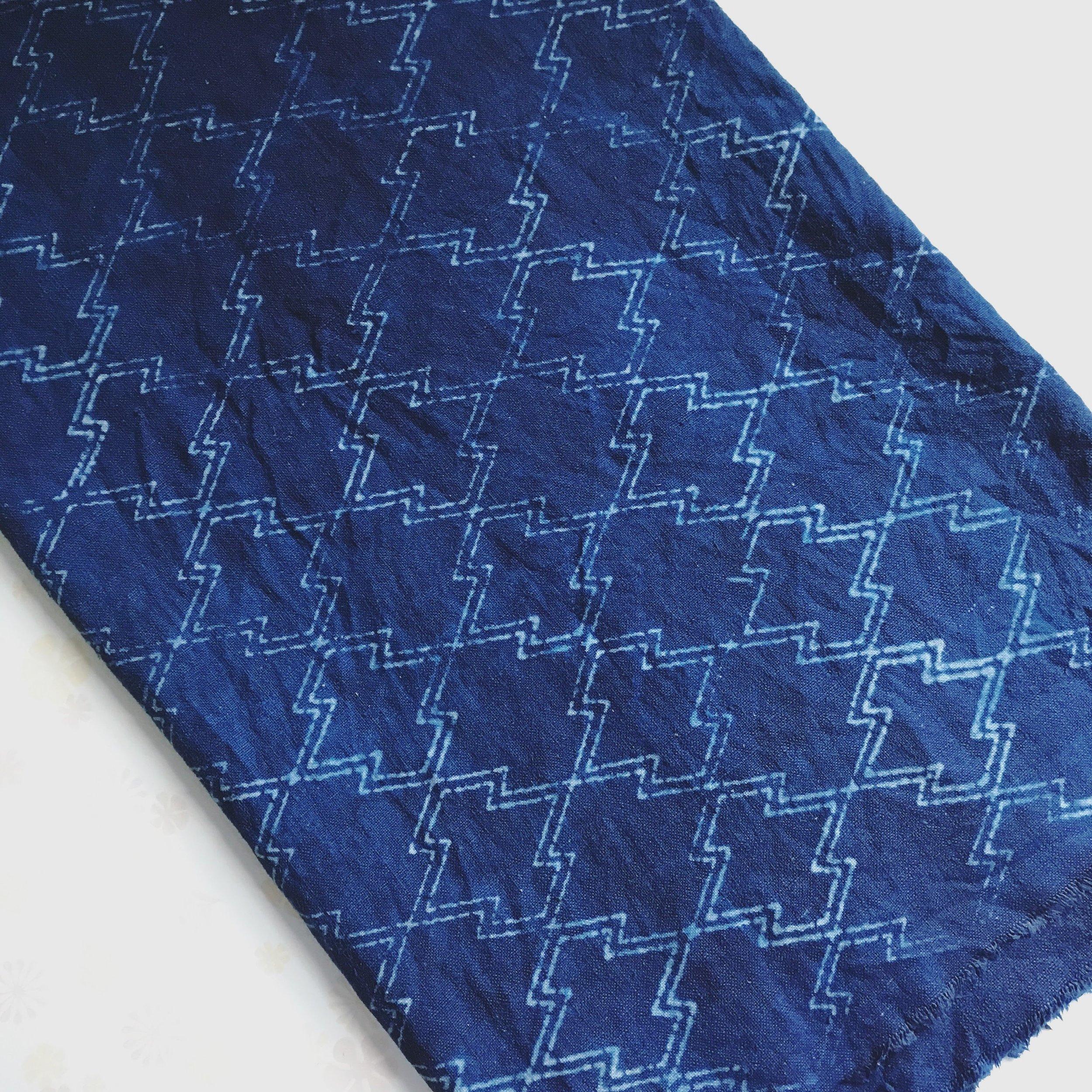 Hand Dyed Indigo Katazome fabric