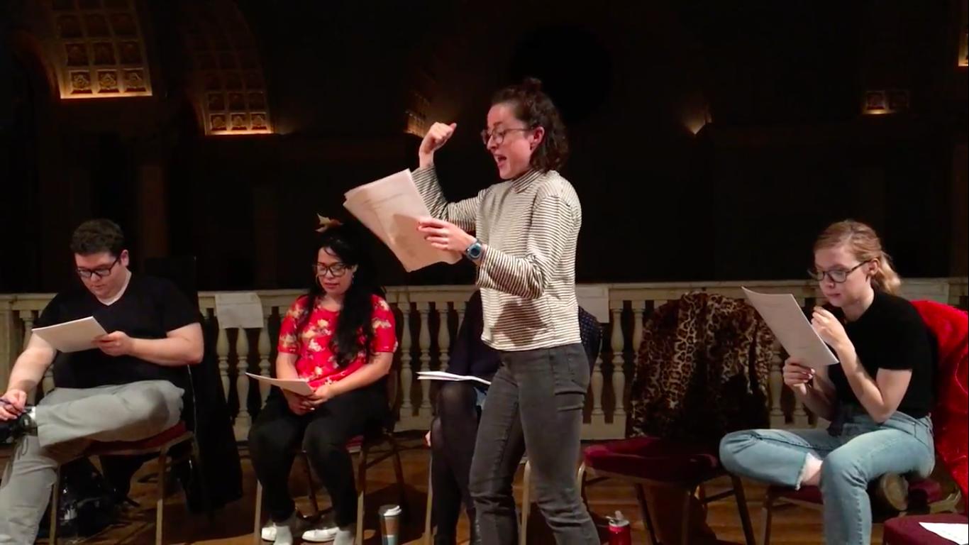 Foreground: Liz Leimkuhler as Iphigenia / Background: Ben Langhorst as Agamemnon & Vanessa Felix as Fury