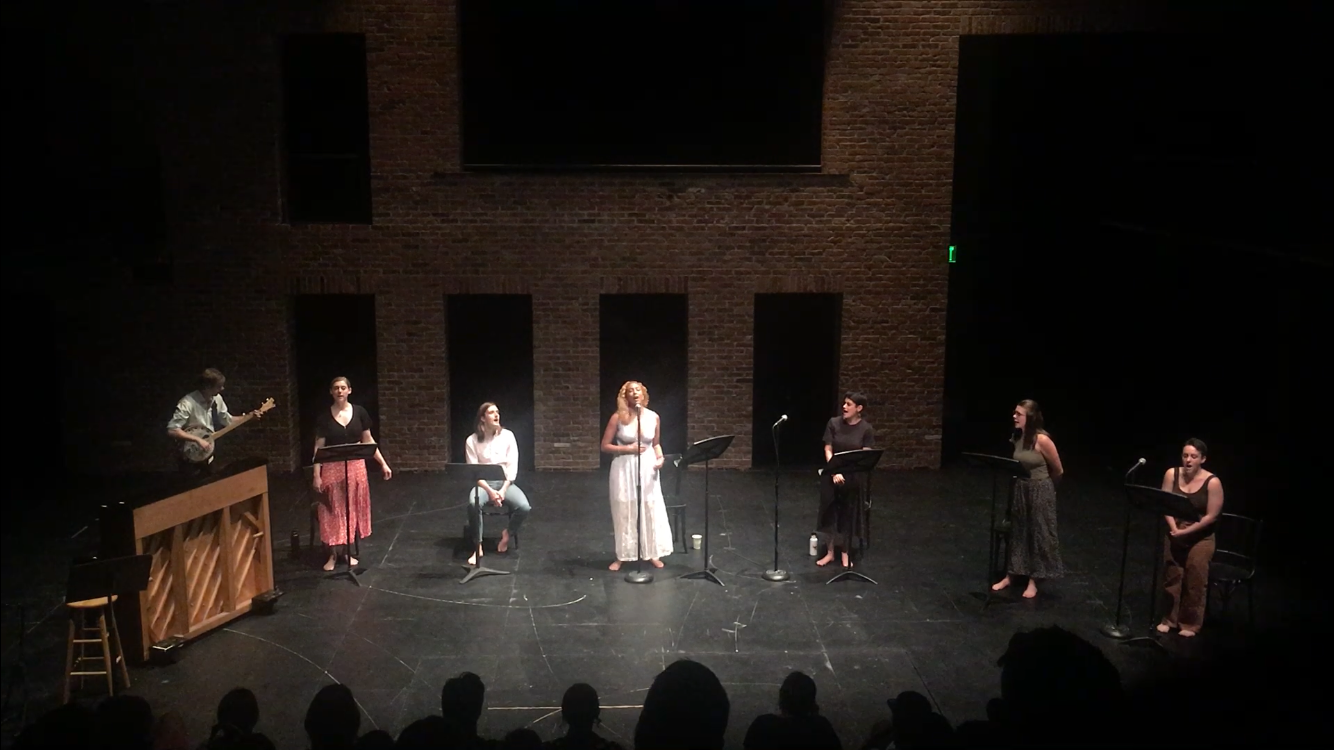 Nate Weida, McLean Peterson, Bailey Edwards, Chanel Andrews, Melissa Mahoney, Kristen Krak, Sophie, and Sophie Sagen-Gutherz  (photo by Mia Hull)