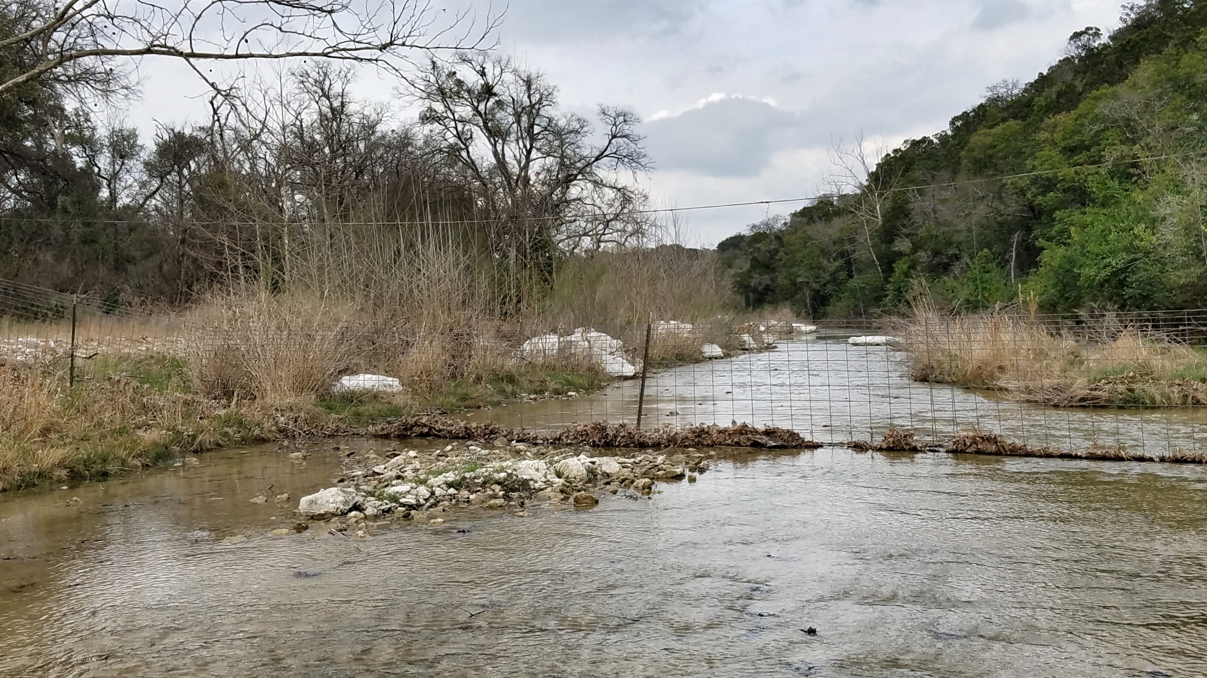 Landowners who own both sides of a stream, or hold title to the stream bed itself, may have a legitimate need to control livestock; however, that doesn't make this fence across a navigable stream legal.