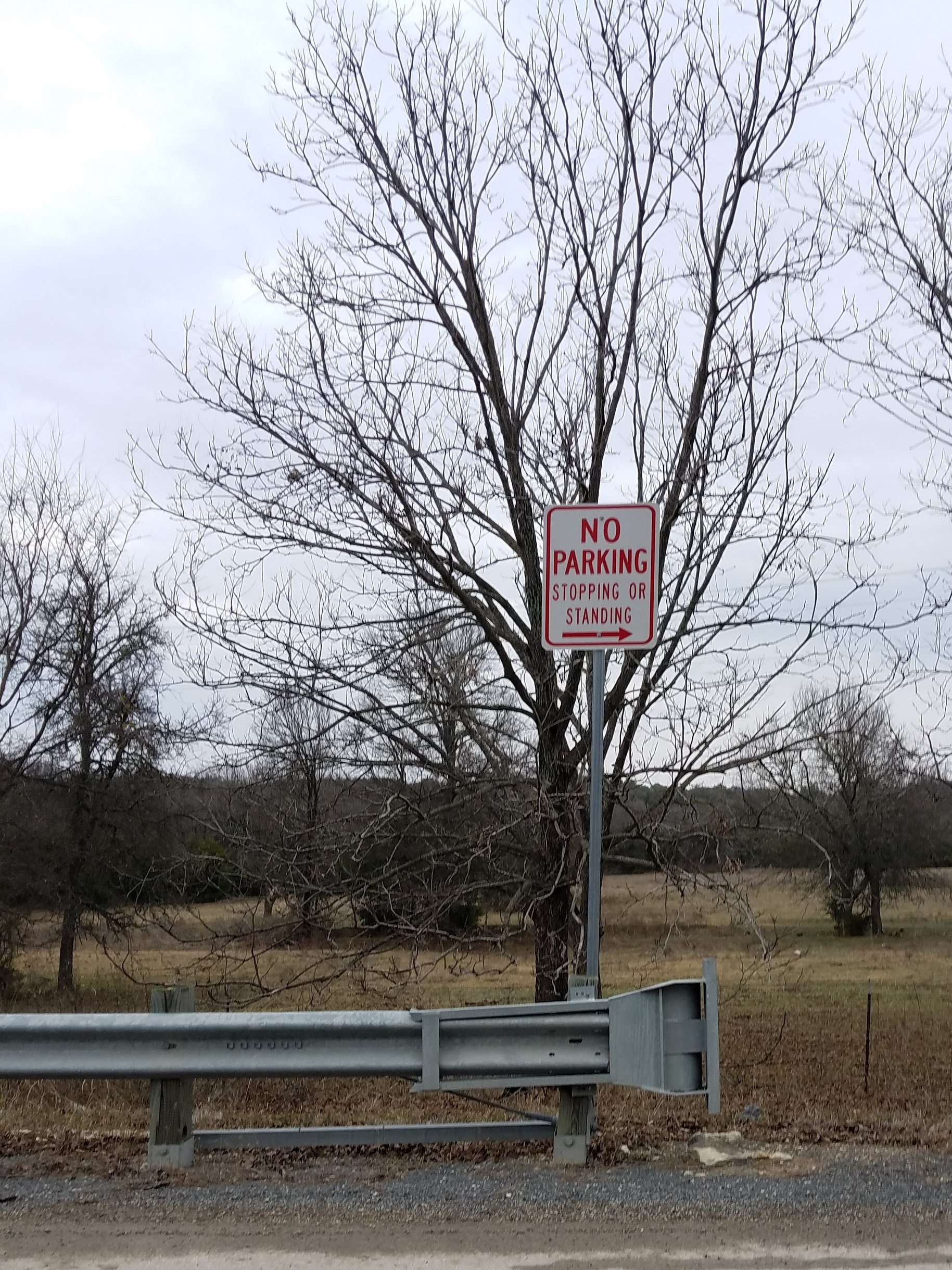 """No Parking"" signs are typically installed by city or county governments (rarely by the Texas Department of Highways), sometimes at the behest of landowners specifically to limit access to navigable waters."