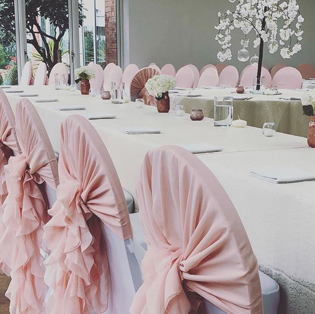 Blossom trees and Blush pink ruffle hoods did Charlotte & Simon's wedding @upperhousehotel #blossomtreecentrepiece #blushwedding #chairdecor #staffordshirewedding