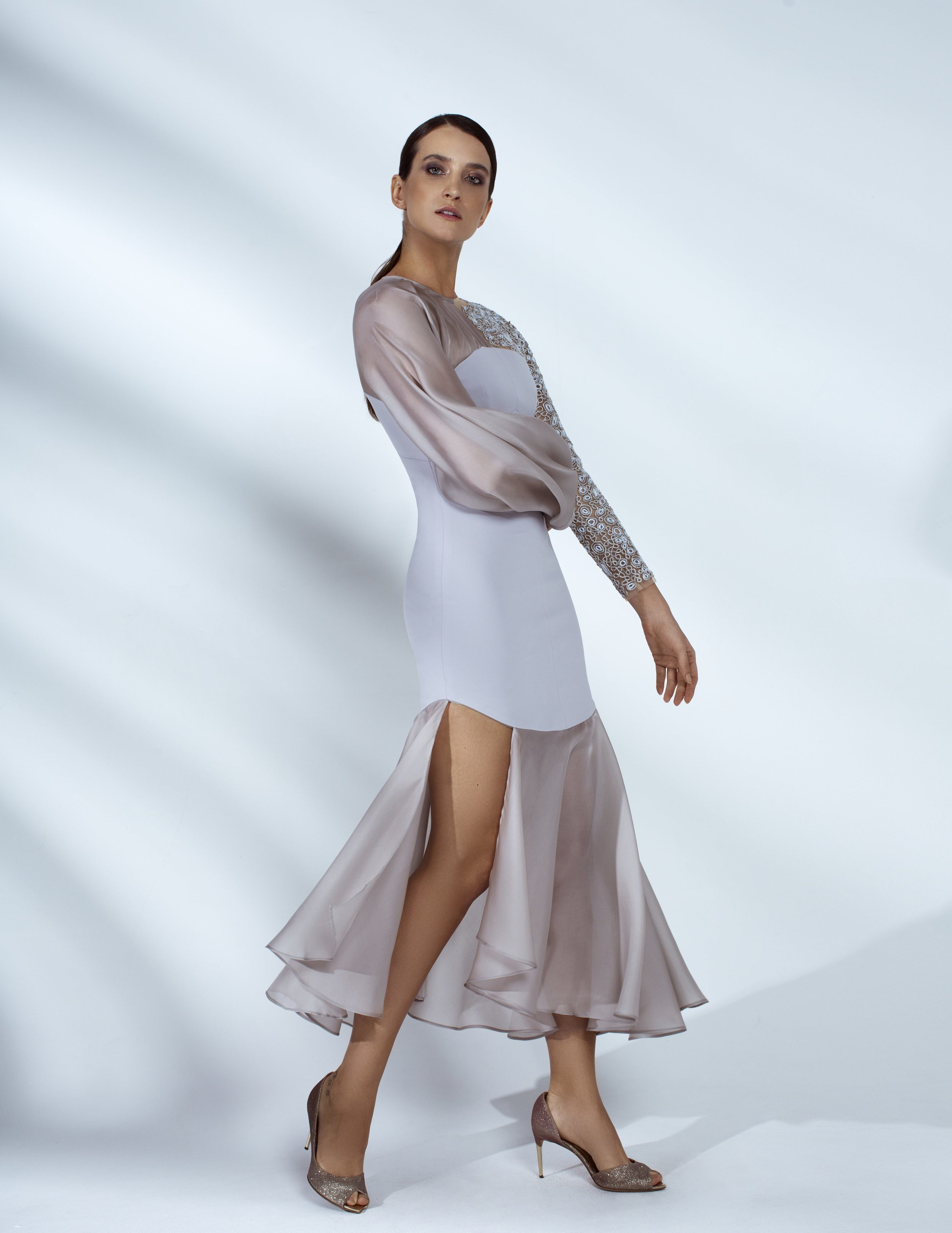 Style # - SS20003   Kia  asymmetrical hand embroidered dress