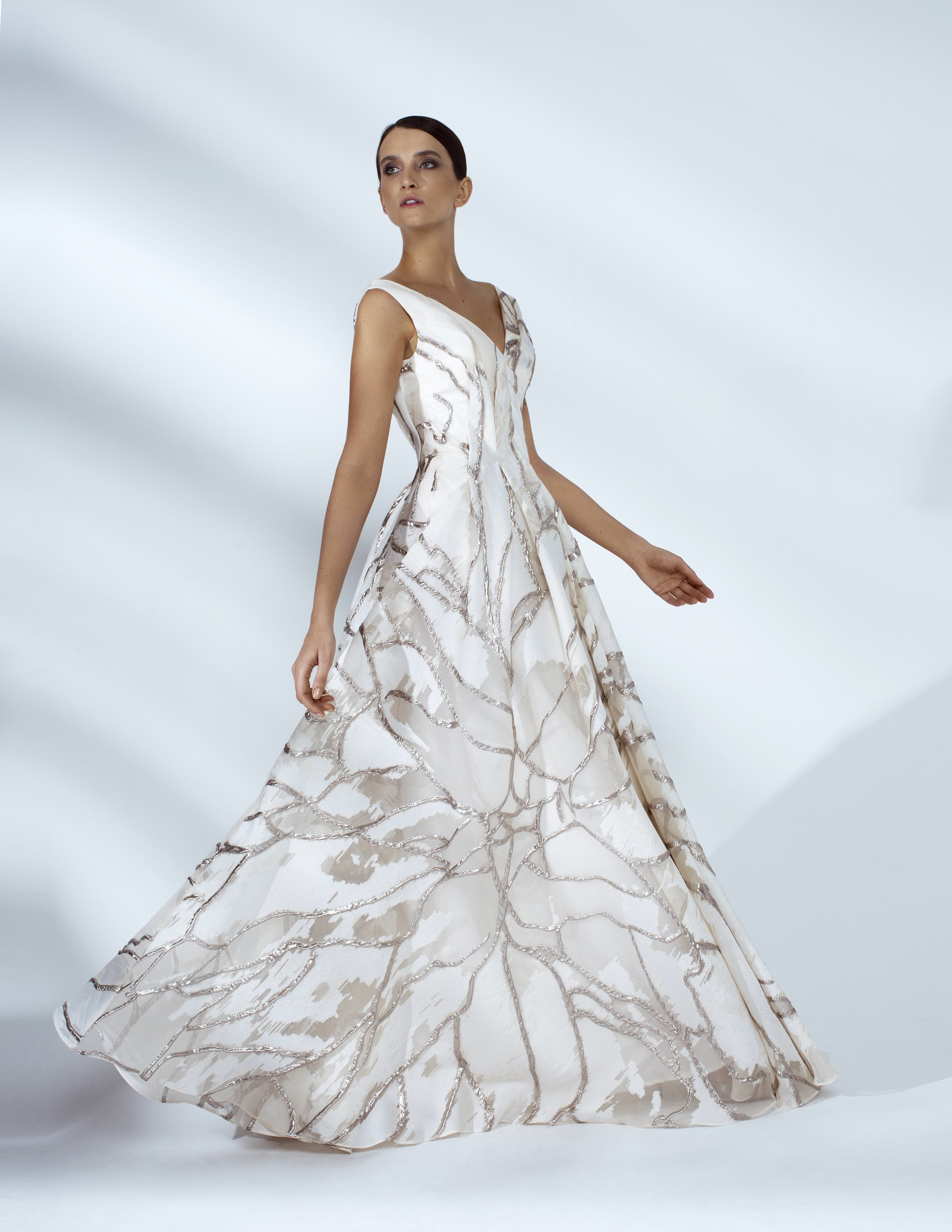Style # - SS20007   Riana  floral organza draped maxi dress