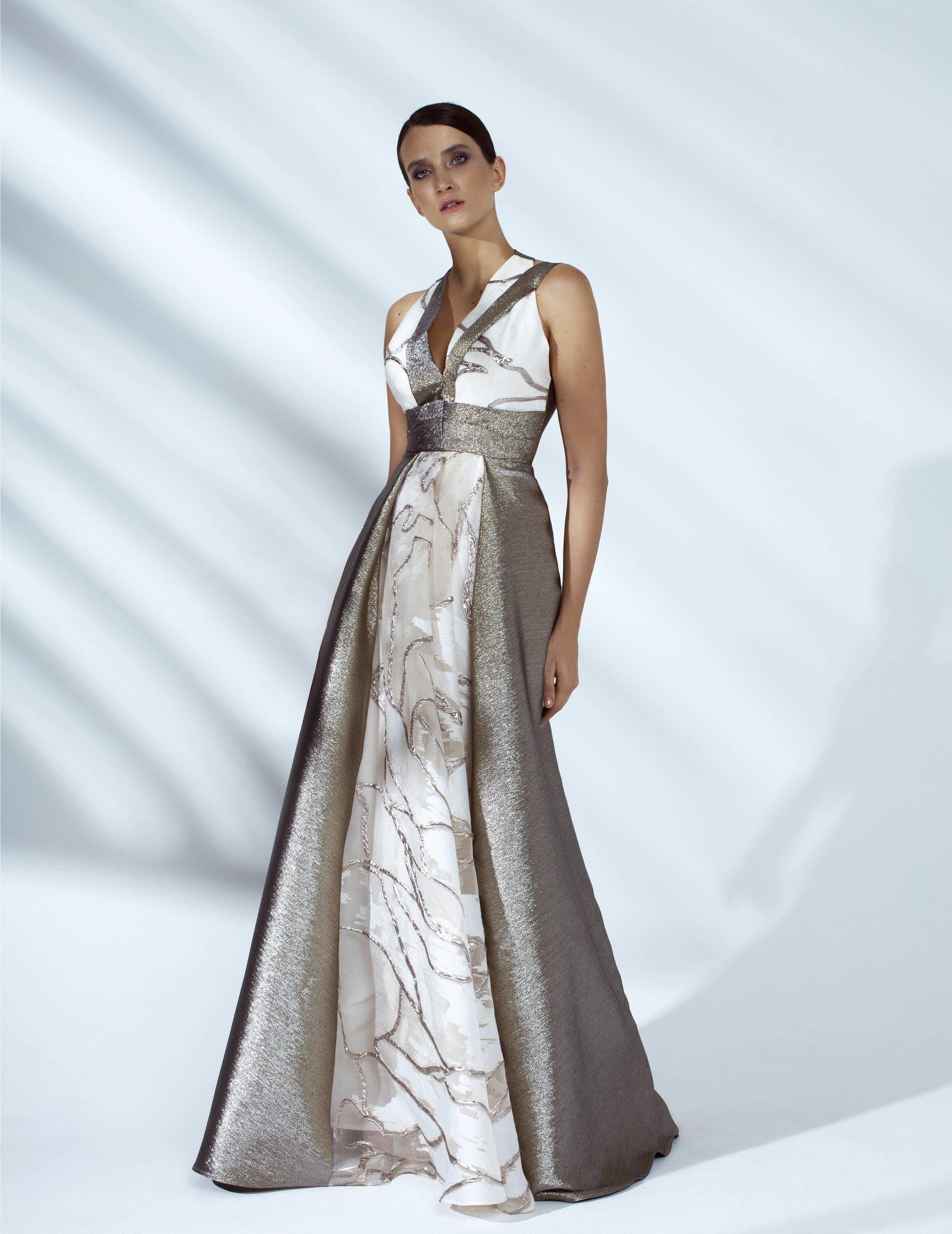 Style # - SS20008   Isaa  draped shimmer maxi dress