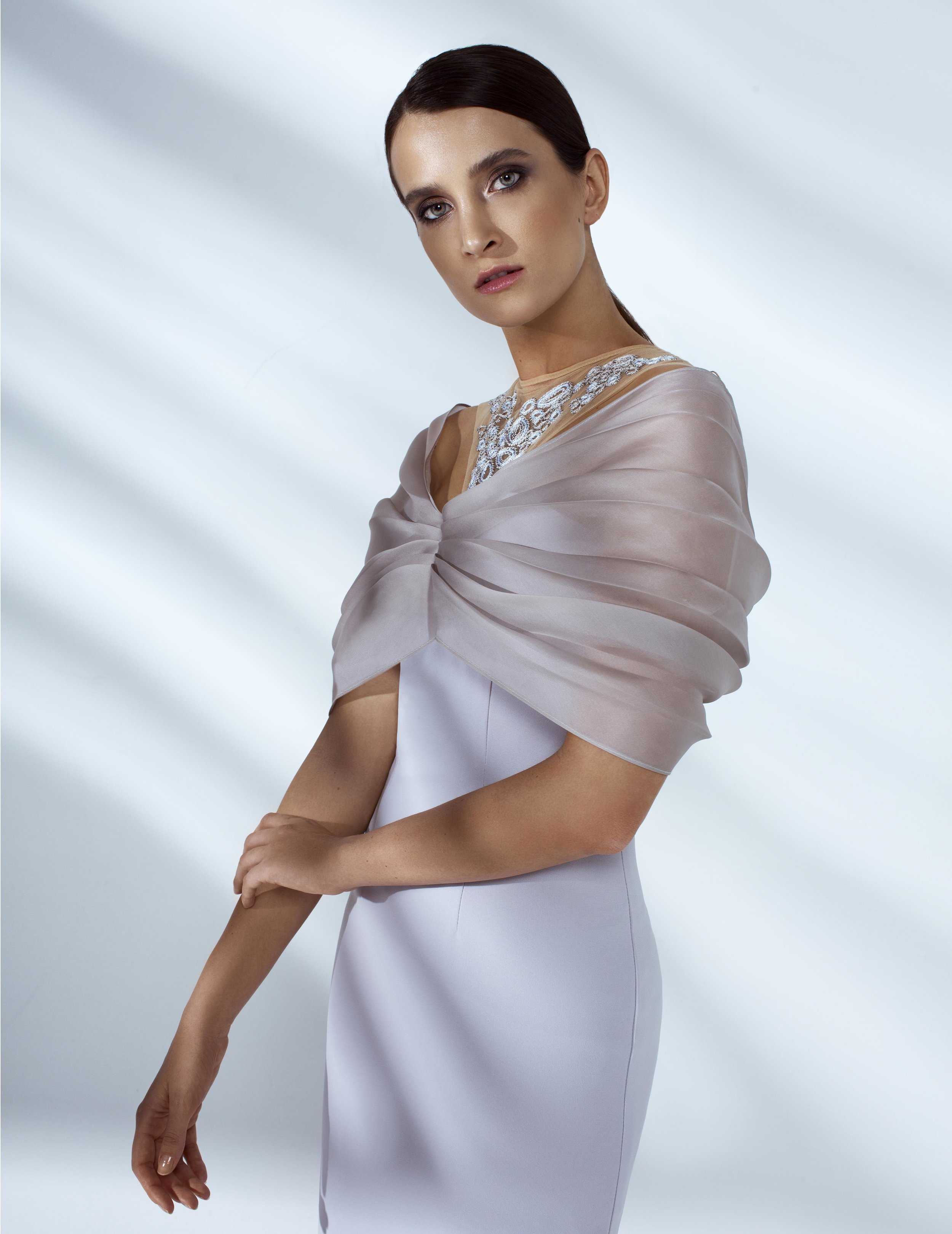 Style # - SS20002   Lara  pleated cape hand embroidered dress