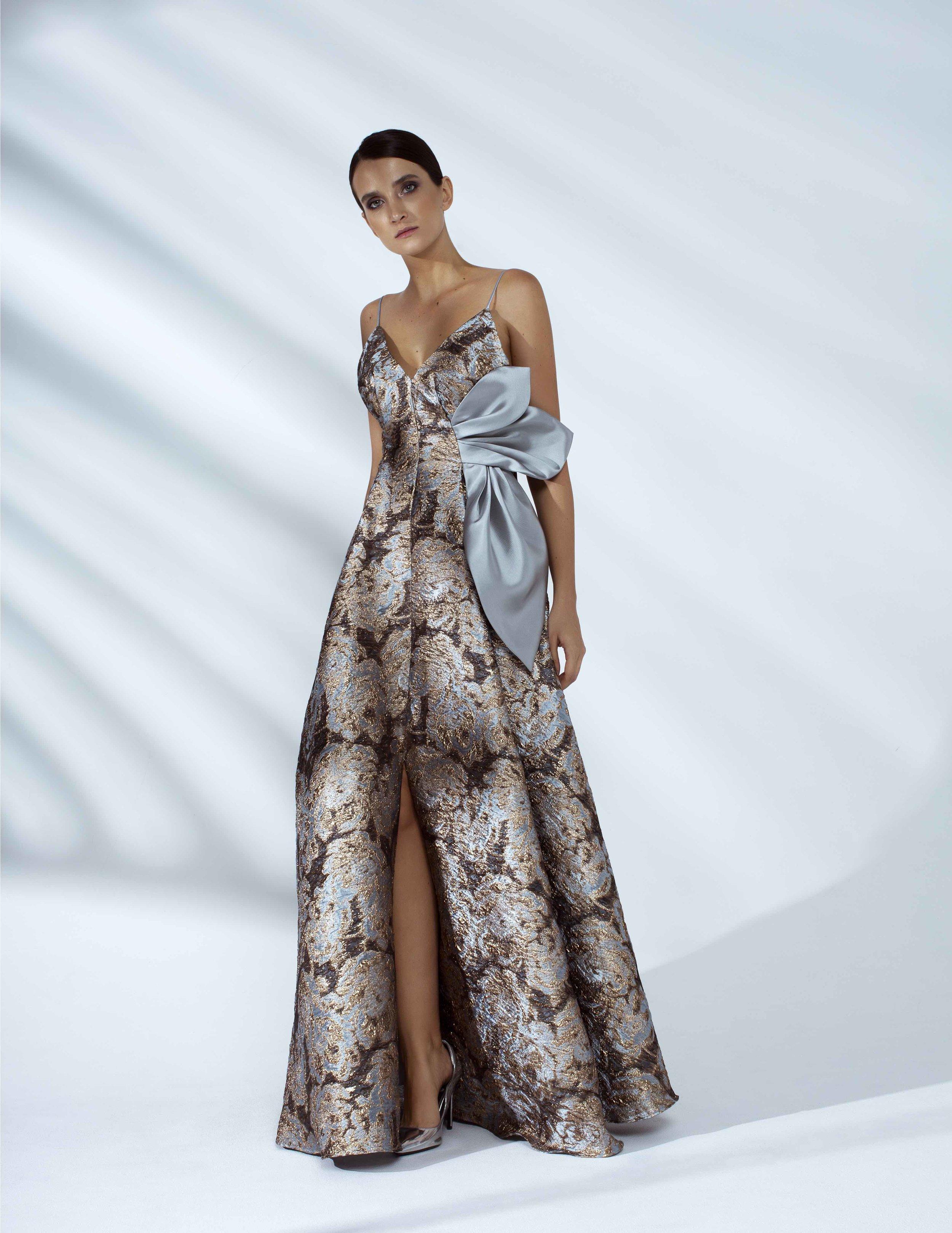 Style # - SS20009   Ariana  brocade maxi dress with draped petals