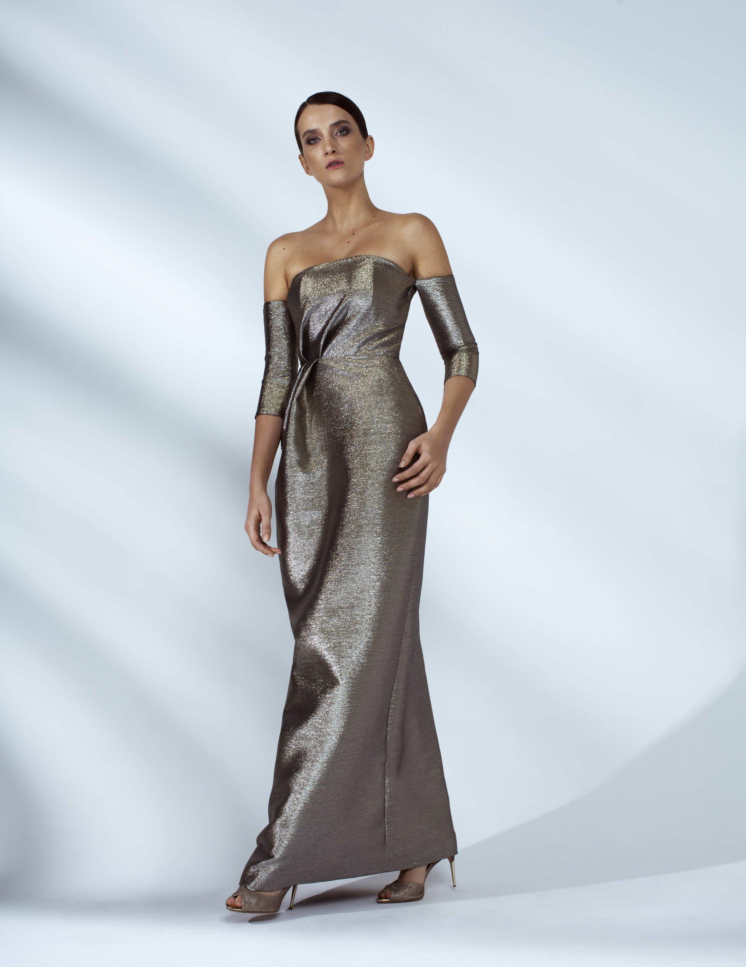Style # - SS20010   Haya  draped dress with 3/4 sleeves