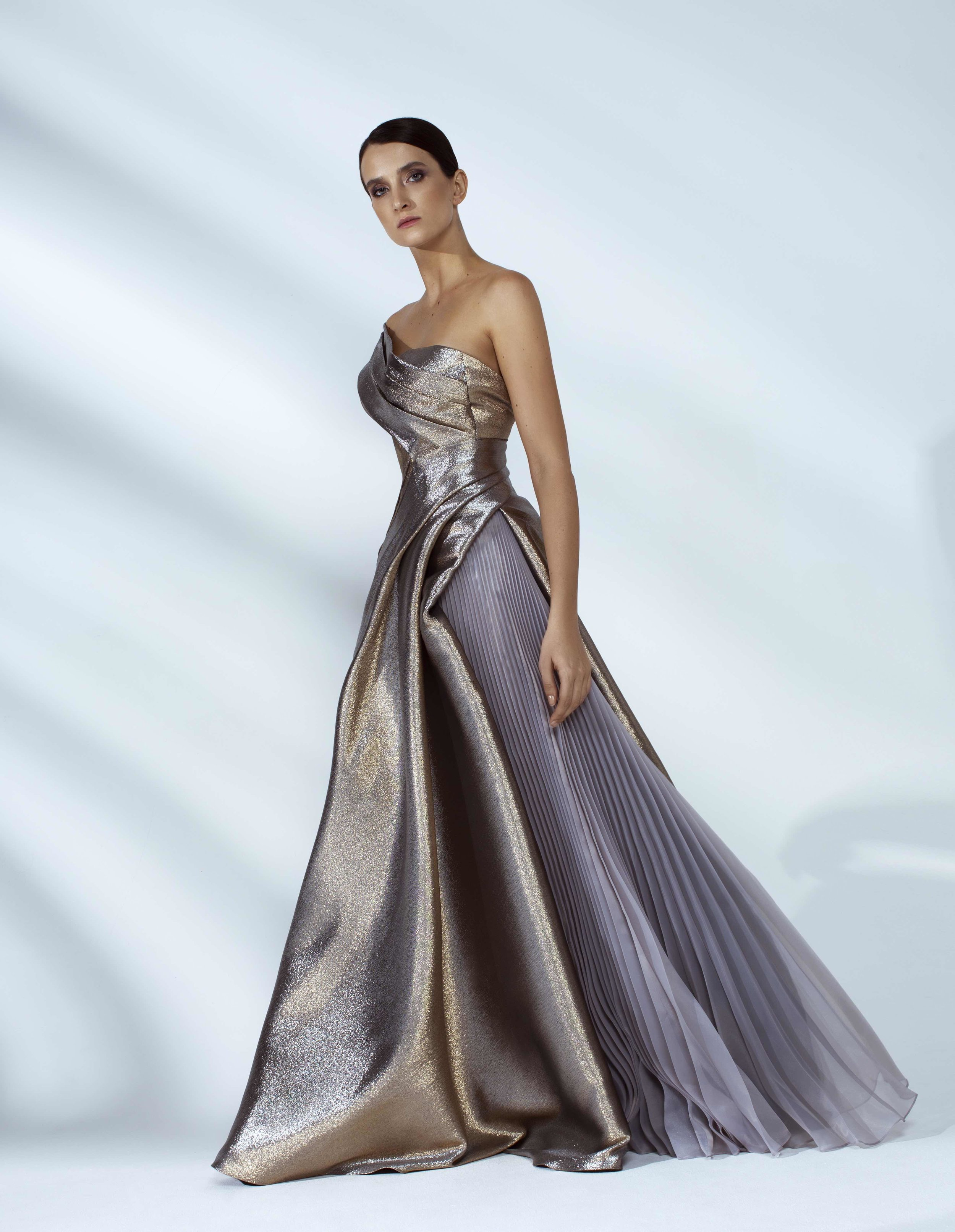 Style # - SS20011   Zoe  draped shimmer maxi dress
