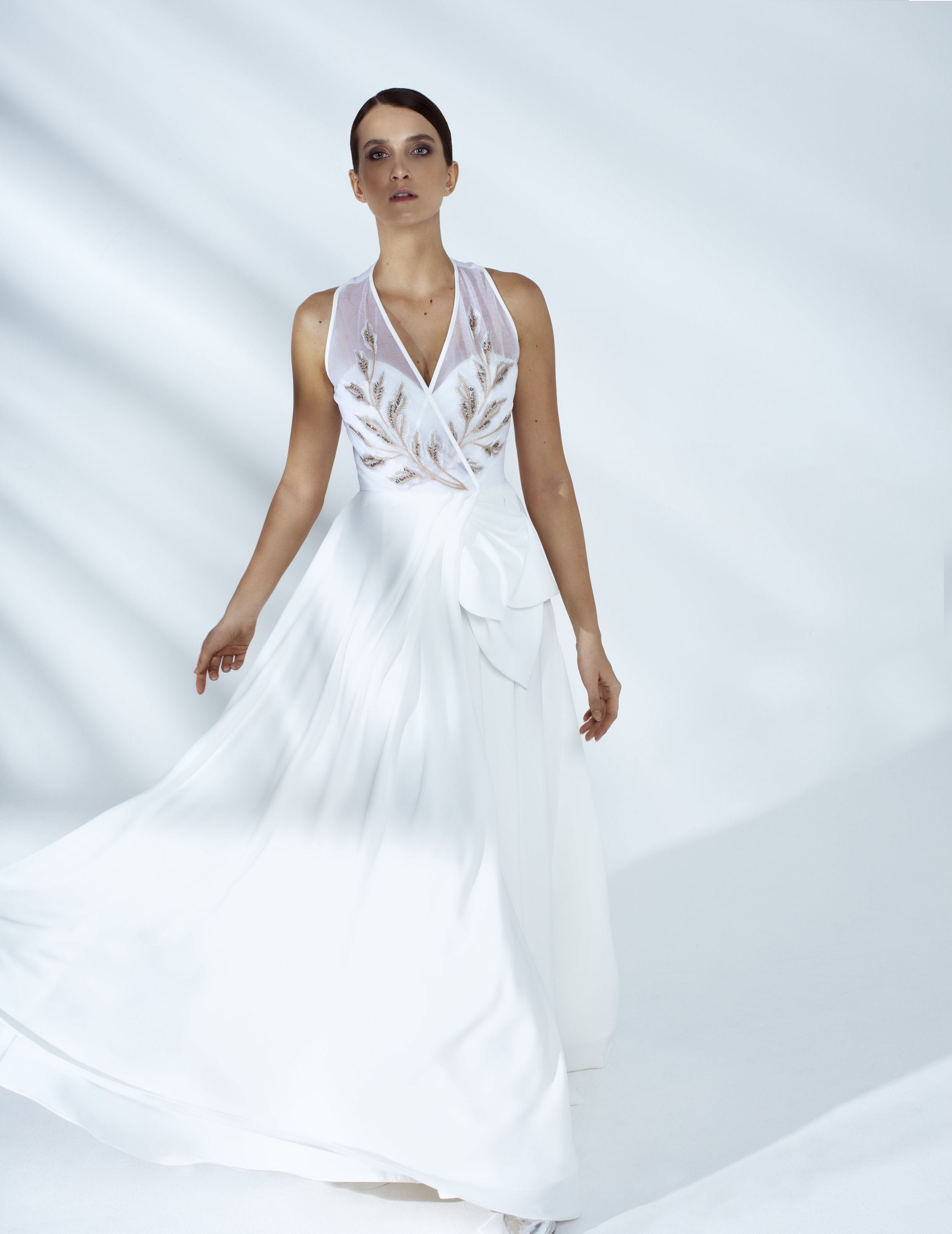 Style # - SS20012   Sienna  hand embroidered maxi dress with petals