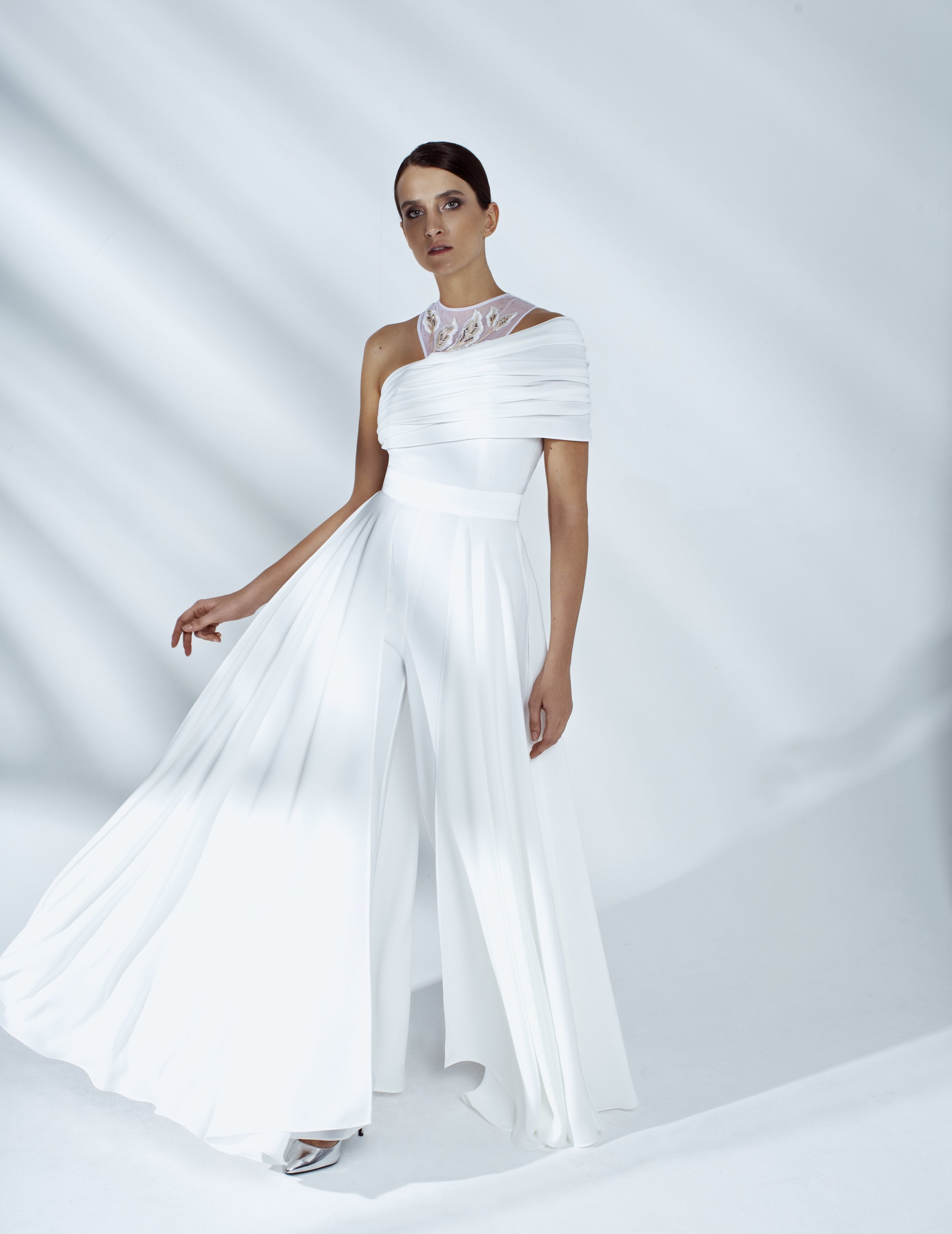 Style # - SS200013   Vivienne  draped jumpsuit with hand embroidery